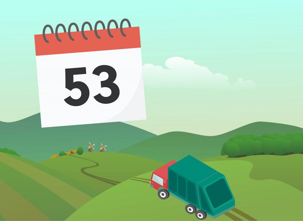 Veckokalender med texten 53. Sopbil som kör över ett grönt landskap.