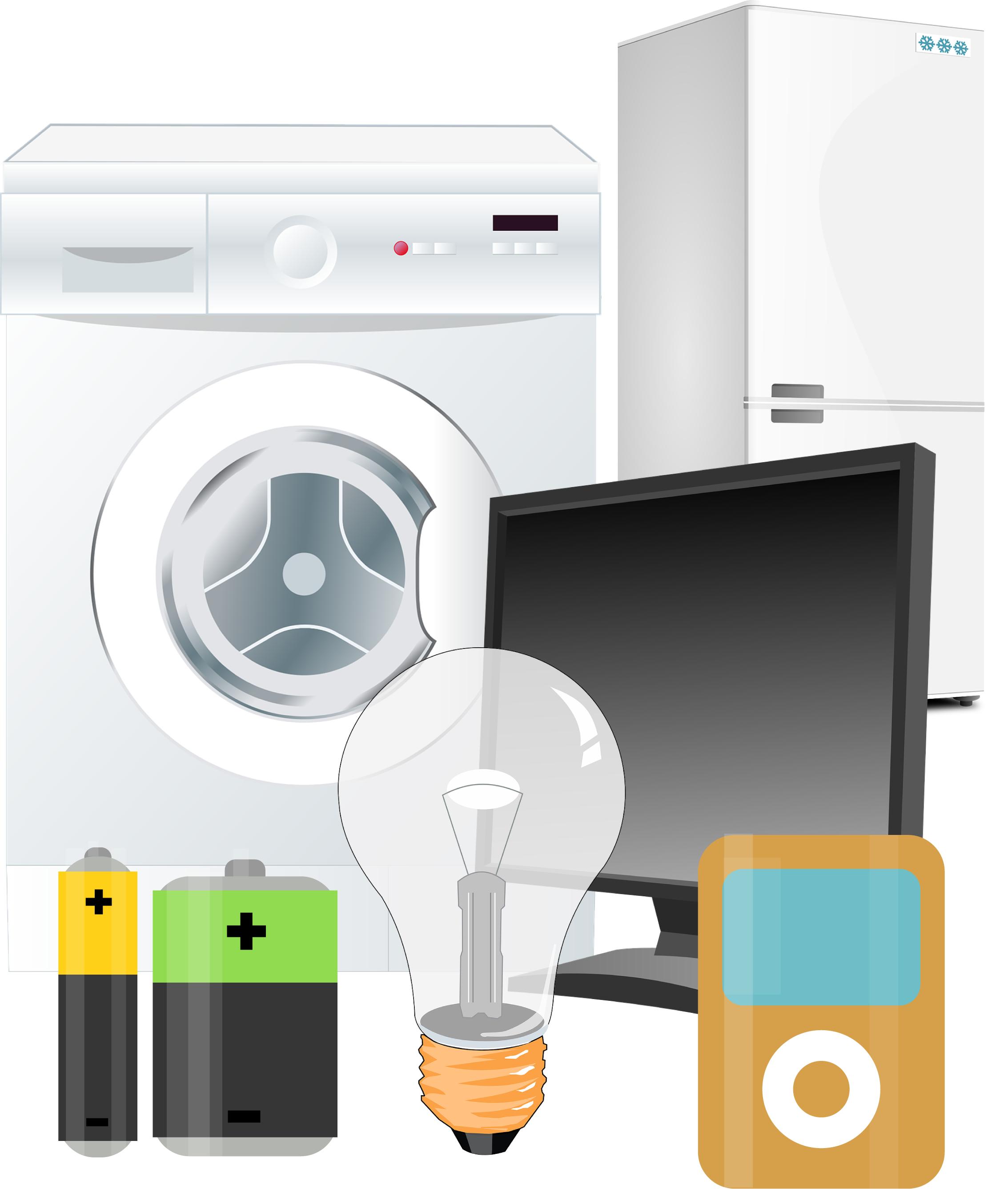 Illustrationer av tvättmaskin, kyl och frys, batterier, glödlampa, datorskärm, ipod
